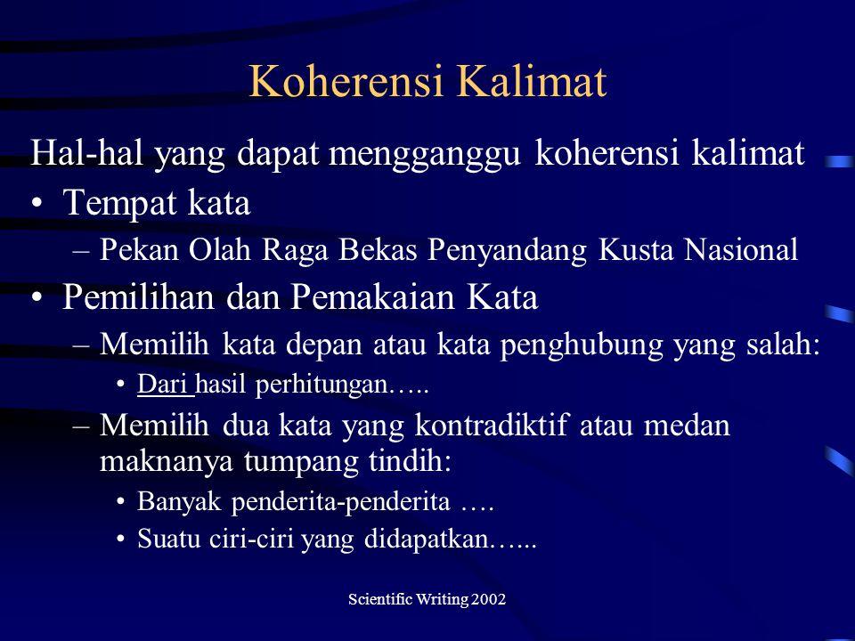 Koherensi Kalimat Hal-hal yang dapat mengganggu koherensi kalimat