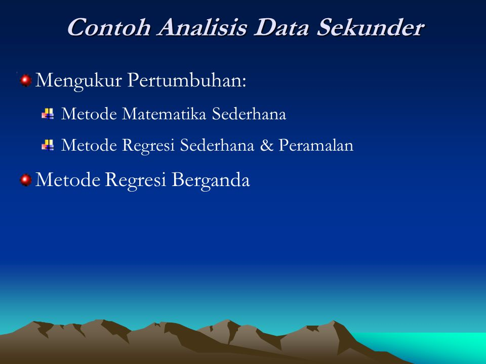Contoh Analisis Data Sekunder