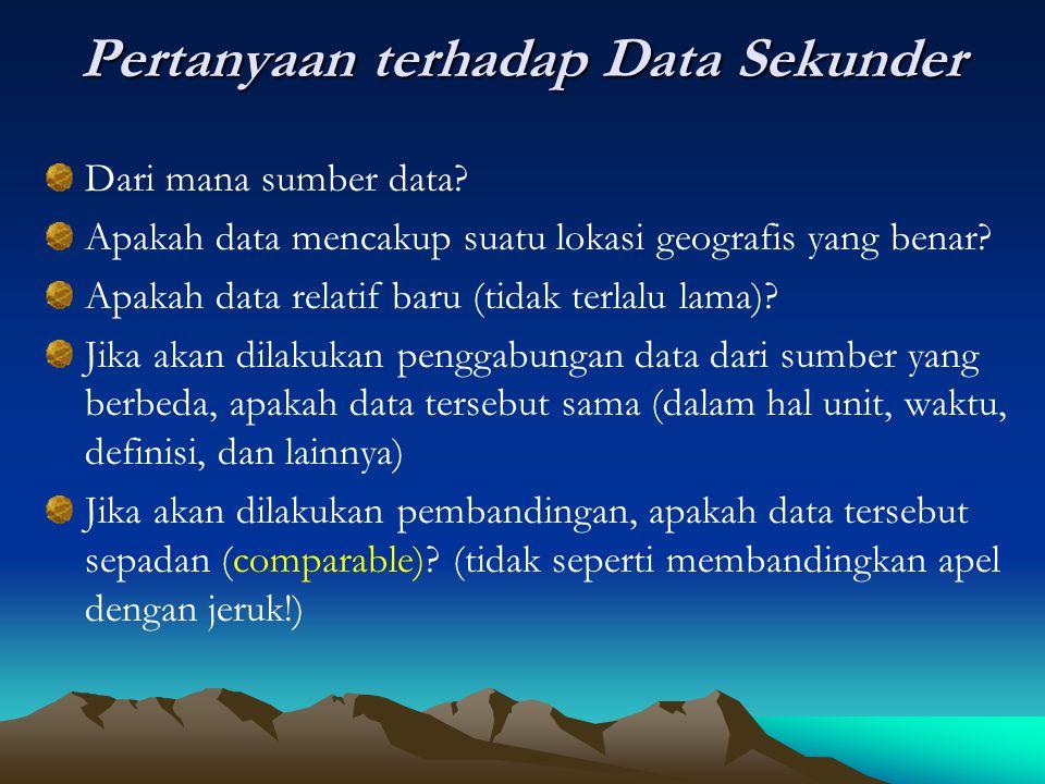 Pertanyaan terhadap Data Sekunder