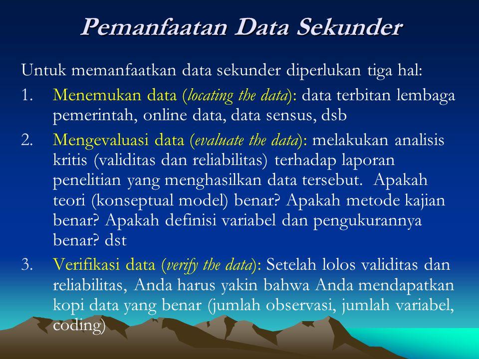 Pemanfaatan Data Sekunder