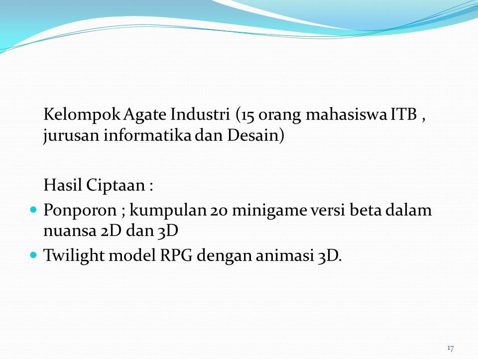 Kelompok Agate Industri (15 orang mahasiswa ITB , jurusan informatika dan Desain)