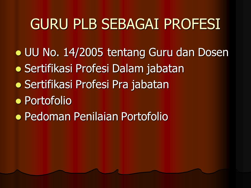 GURU PLB SEBAGAI PROFESI