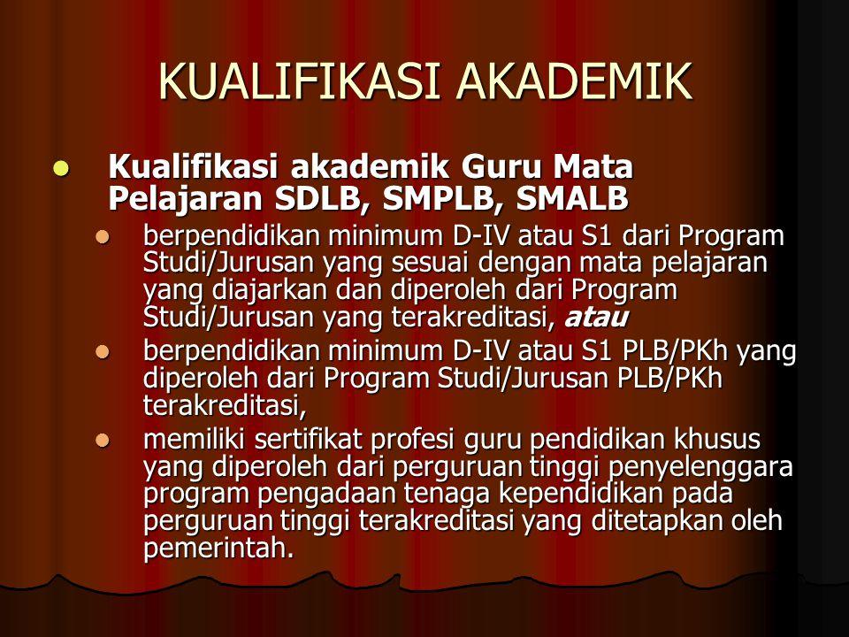KUALIFIKASI AKADEMIK Kualifikasi akademik Guru Mata Pelajaran SDLB, SMPLB, SMALB.