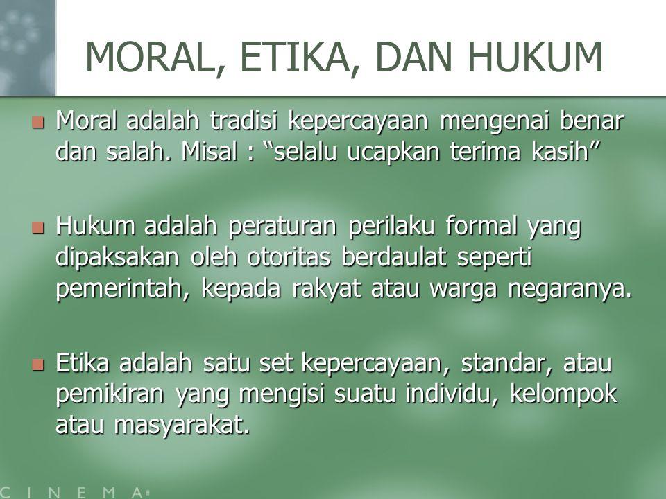 MORAL, ETIKA, DAN HUKUM Moral adalah tradisi kepercayaan mengenai benar dan salah. Misal : selalu ucapkan terima kasih
