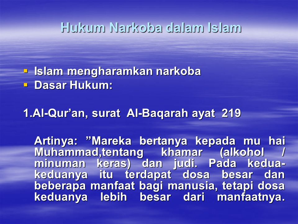 Hukum Narkoba dalam Islam