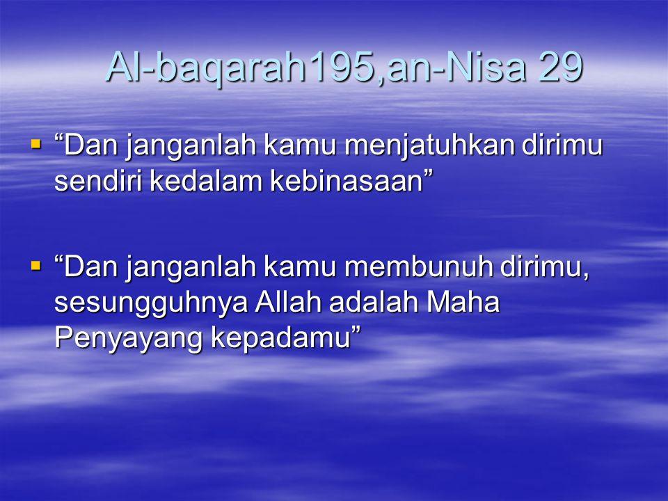 Al-baqarah195,an-Nisa 29 Dan janganlah kamu menjatuhkan dirimu sendiri kedalam kebinasaan