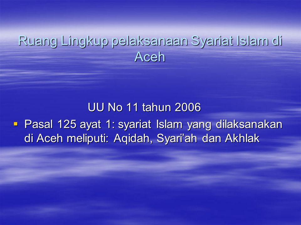 Ruang Lingkup pelaksanaan Syariat Islam di Aceh