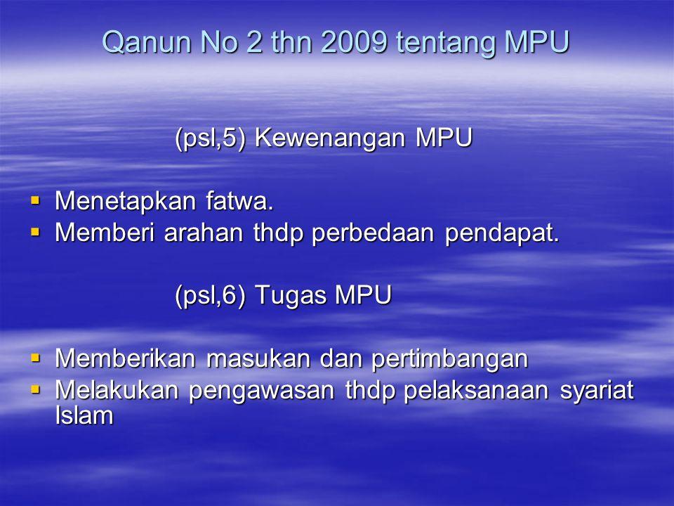 Qanun No 2 thn 2009 tentang MPU