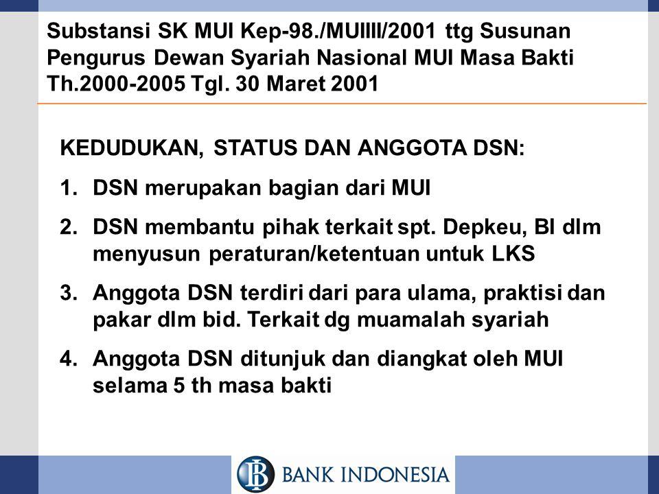 Substansi SK MUI Kep-98./MUIIII/2001 ttg Susunan Pengurus Dewan Syariah Nasional MUI Masa Bakti Th.2000-2005 Tgl. 30 Maret 2001