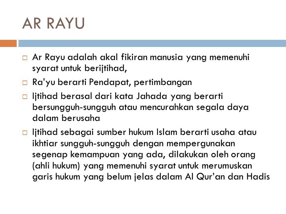 AR RAYU Ar Rayu adalah akal fikiran manusia yang memenuhi syarat untuk berijtihad, Ra'yu berarti Pendapat, pertimbangan.