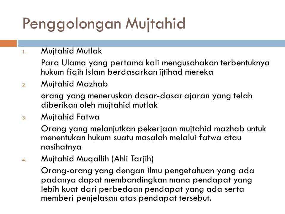 Penggolongan Mujtahid