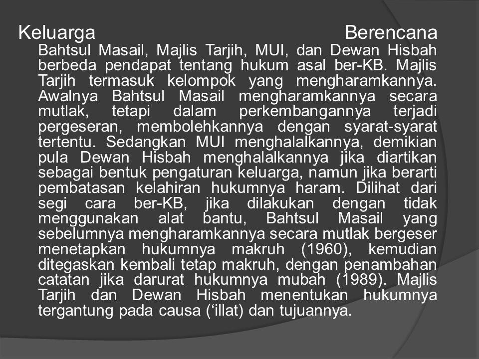 Keluarga Berencana Bahtsul Masail, Majlis Tarjih, MUI, dan Dewan Hisbah berbeda pendapat tentang hukum asal ber-KB.