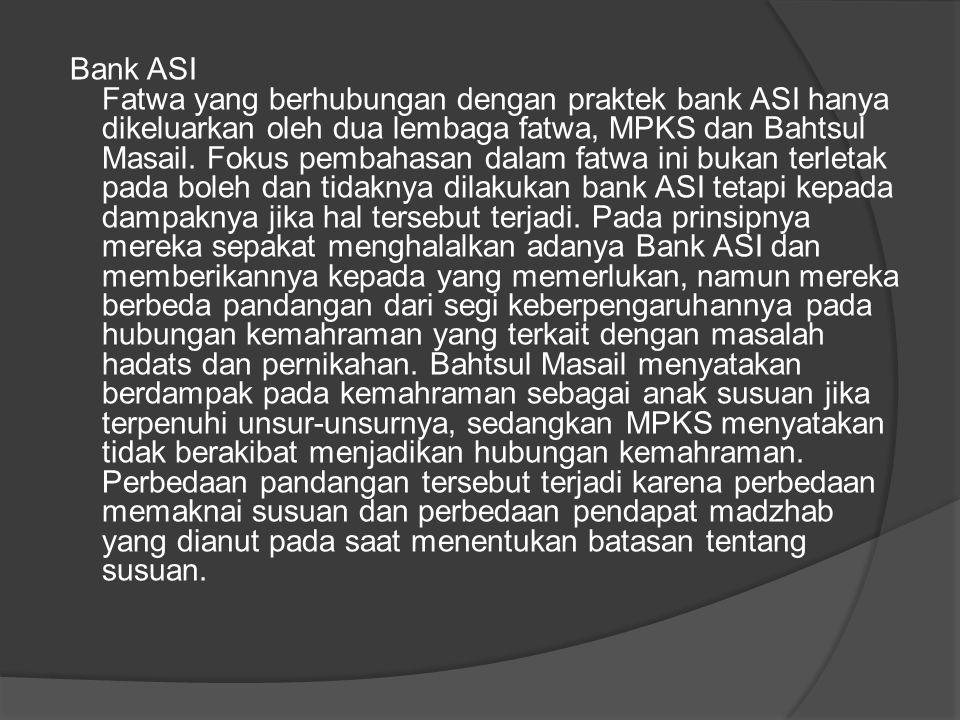 Bank ASI Fatwa yang berhubungan dengan praktek bank ASI hanya dikeluarkan oleh dua lembaga fatwa, MPKS dan Bahtsul Masail.