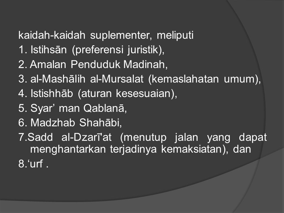 kaidah-kaidah suplementer, meliputi 1