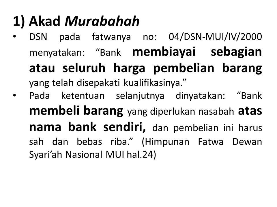 1) Akad Murabahah