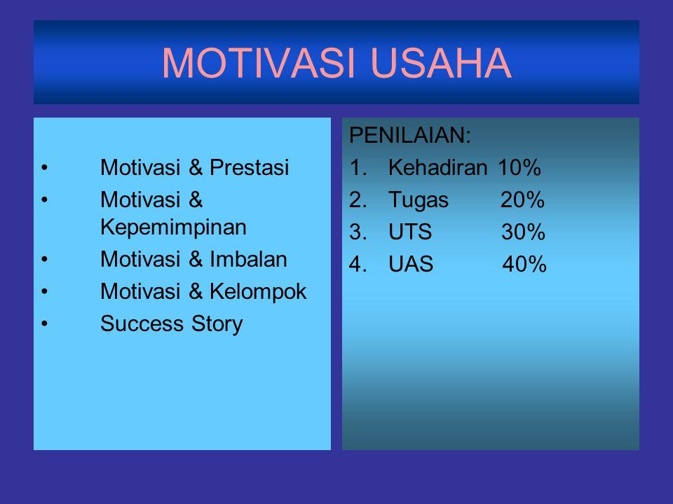 MOTIVASI USAHA Motivasi & Prestasi Motivasi & Kepemimpinan