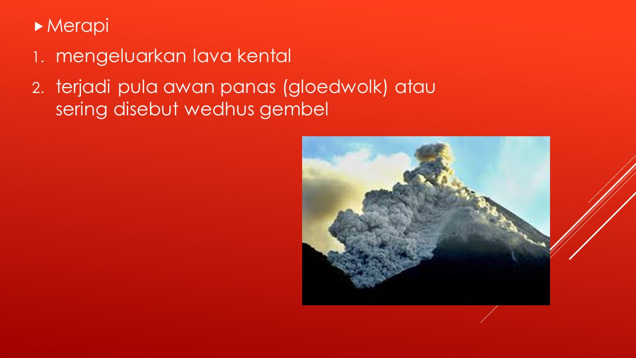 Merapi mengeluarkan lava kental.