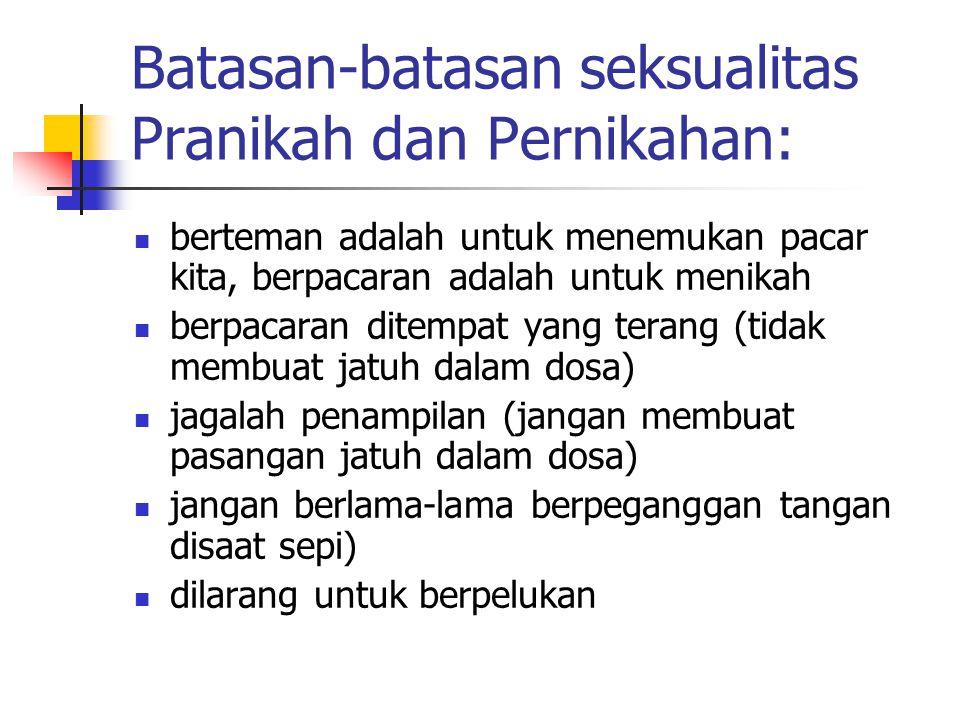Batasan-batasan seksualitas Pranikah dan Pernikahan: