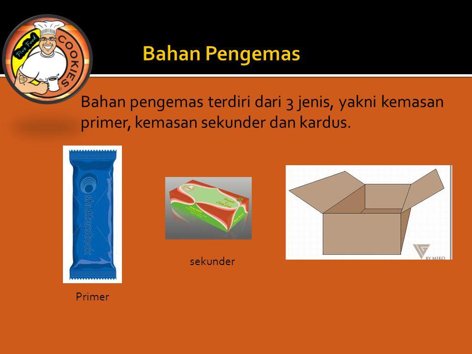 Bahan Pengemas Bahan pengemas terdiri dari 3 jenis, yakni kemasan primer, kemasan sekunder dan kardus.