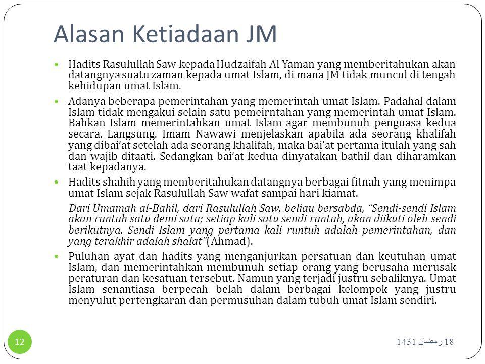 Alasan Ketiadaan JM