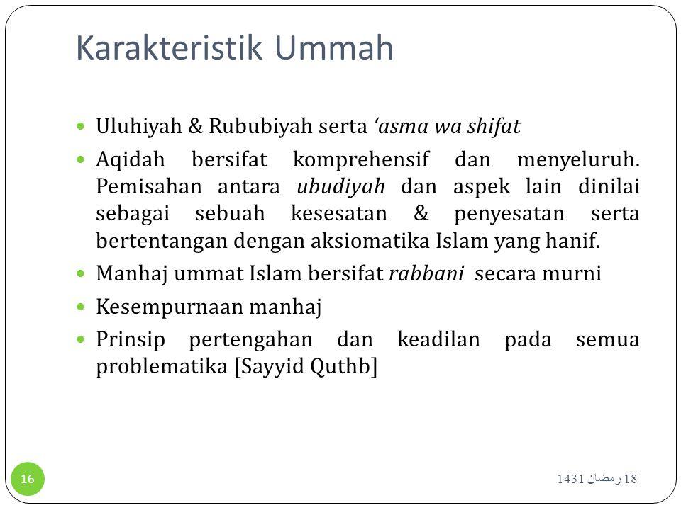 Karakteristik Ummah Uluhiyah & Rububiyah serta 'asma wa shifat