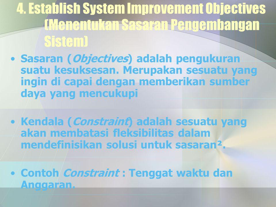 4. Establish System Improvement Objectives