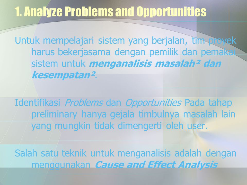 1. Analyze Problems and Opportunities