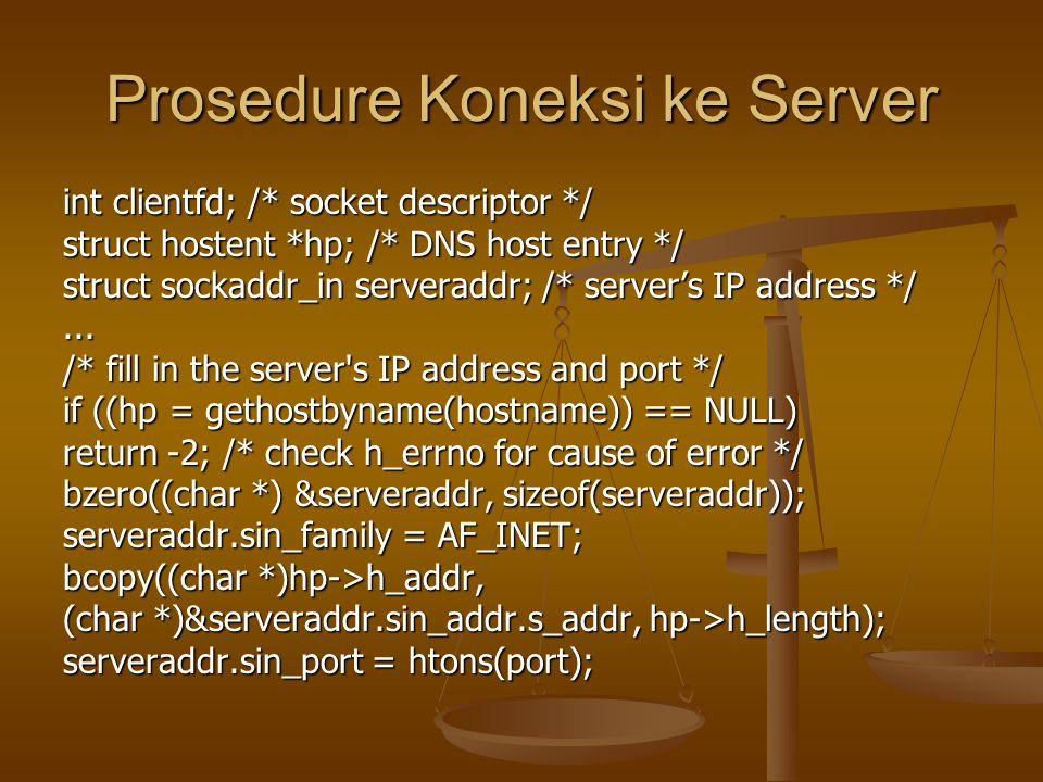 Prosedure Koneksi ke Server