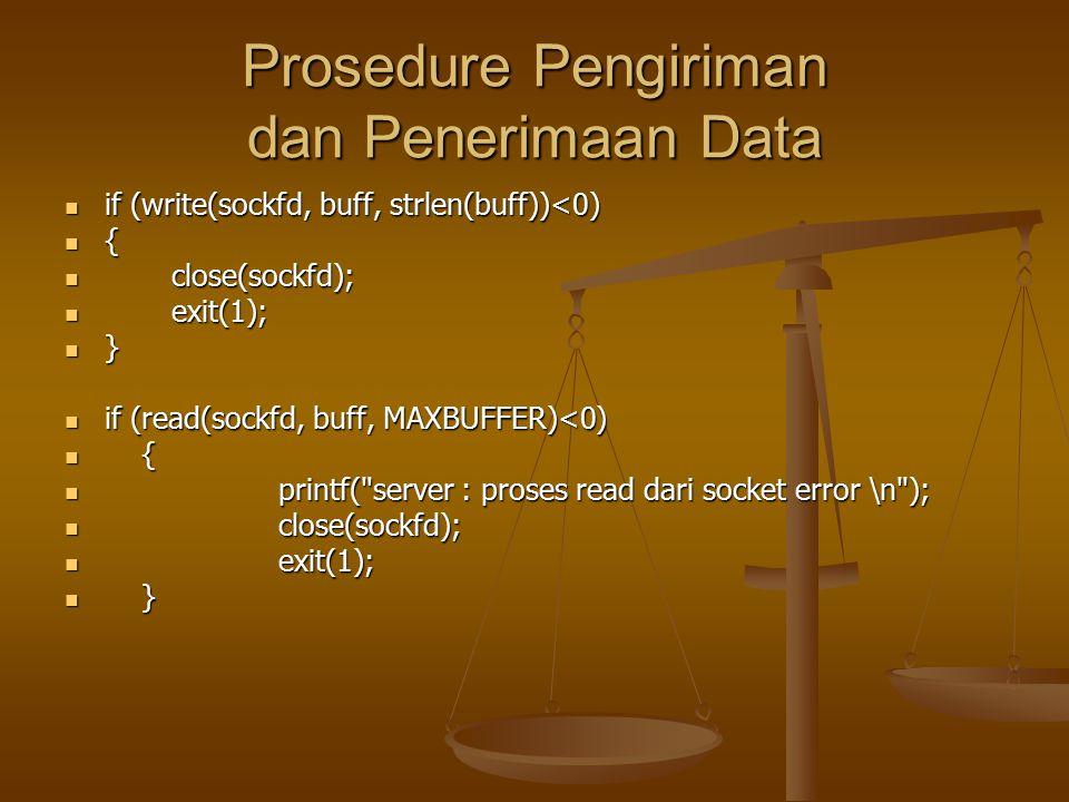 Prosedure Pengiriman dan Penerimaan Data