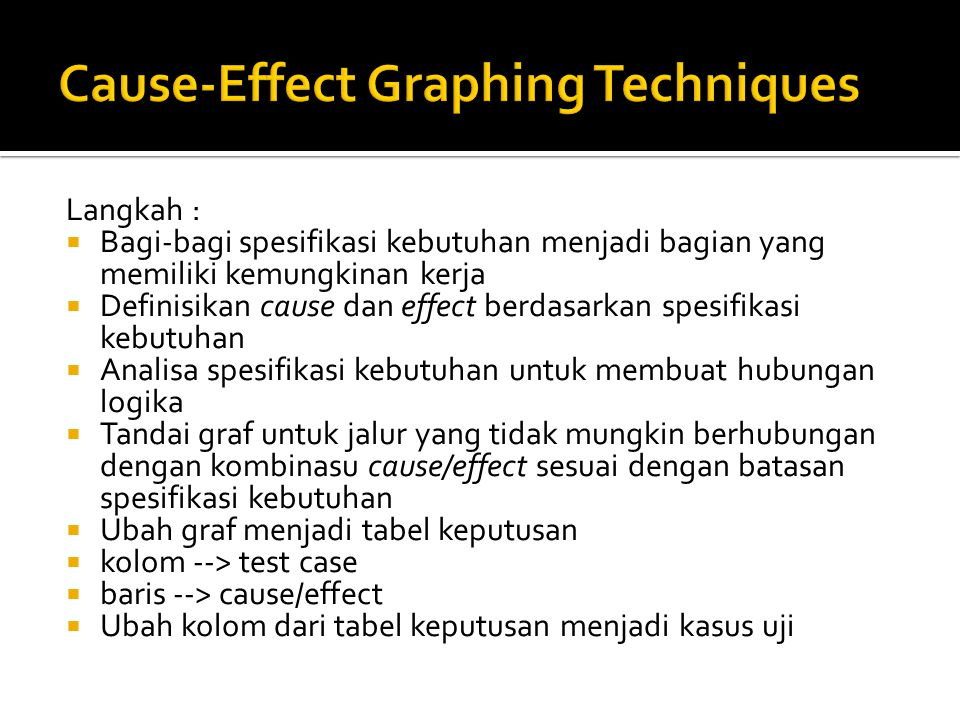 Cause-Effect Graphing Techniques