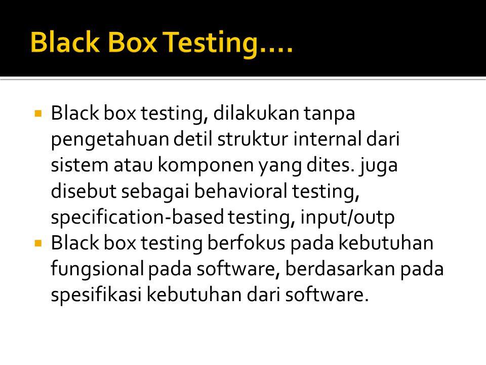 Black Box Testing….