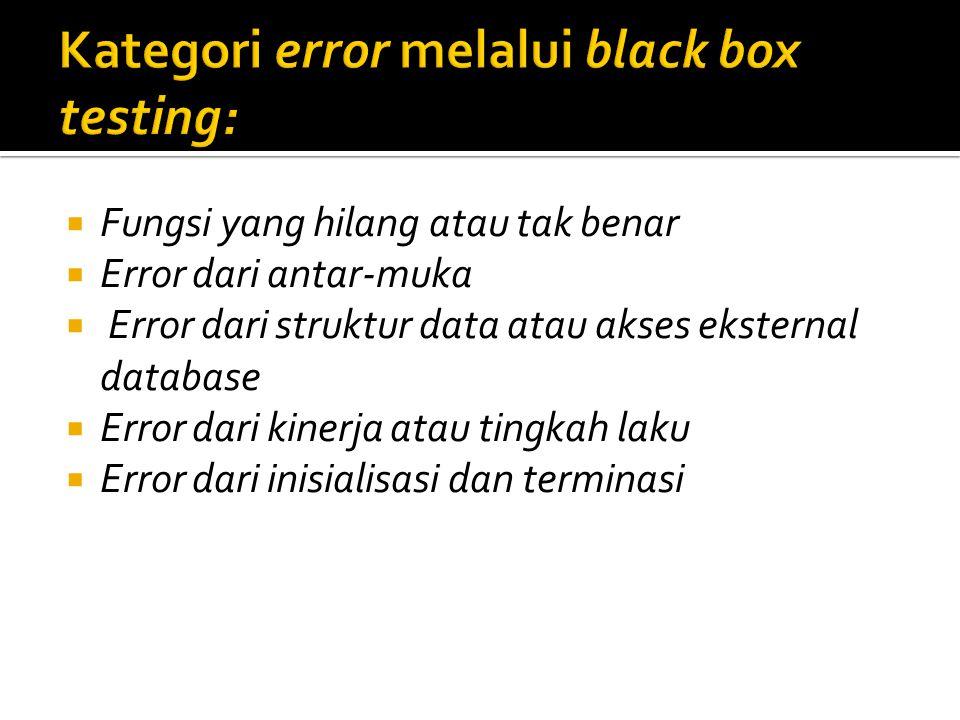 Kategori error melalui black box testing: