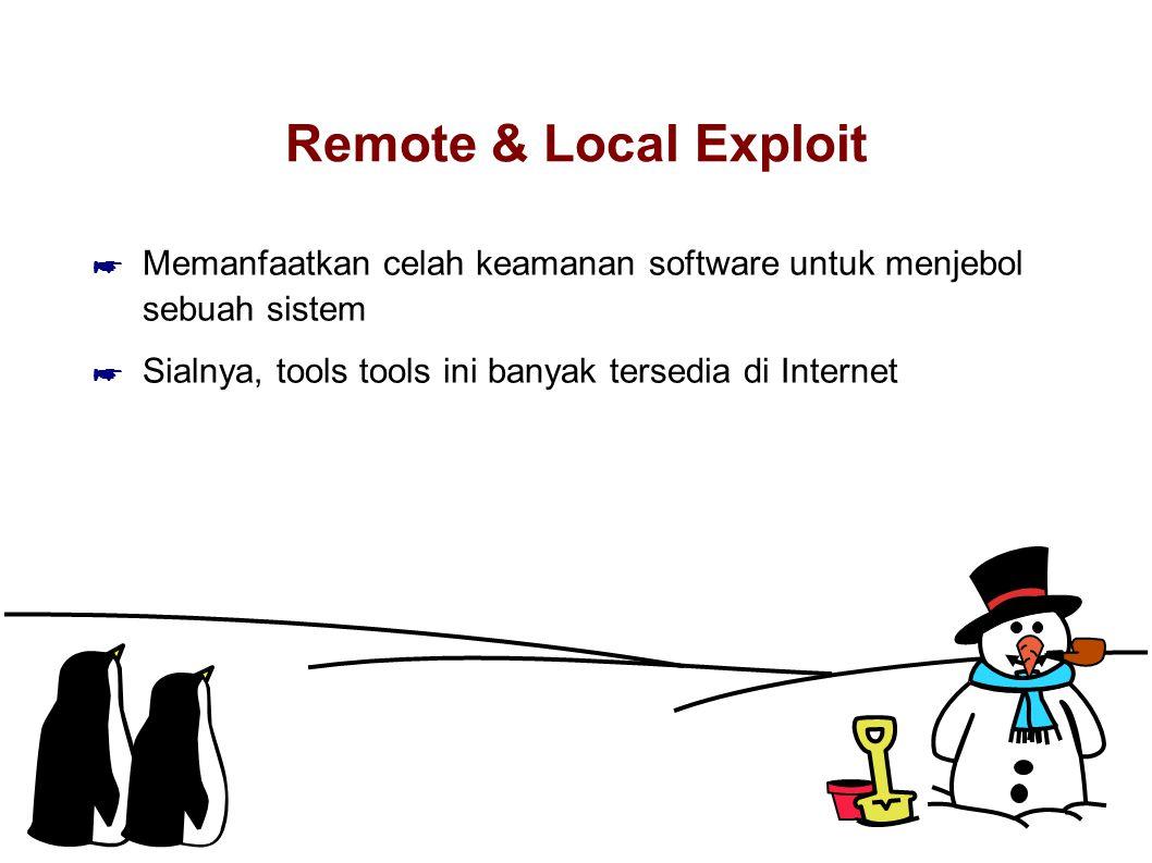 Remote & Local Exploit Memanfaatkan celah keamanan software untuk menjebol sebuah sistem.