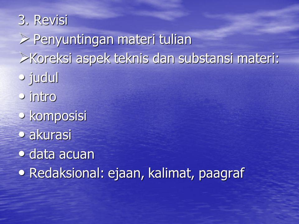 3. Revisi Penyuntingan materi tulian. Koreksi aspek teknis dan substansi materi: judul. intro. komposisi.