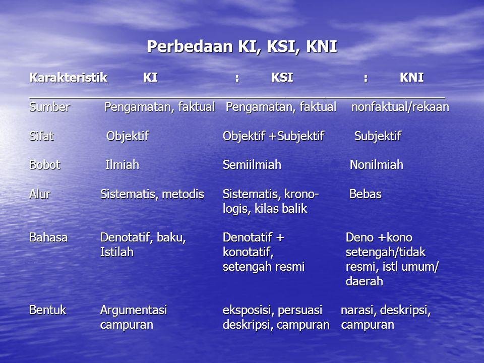 Perbedaan KI, KSI, KNI Karakteristik KI : KSI : KNI