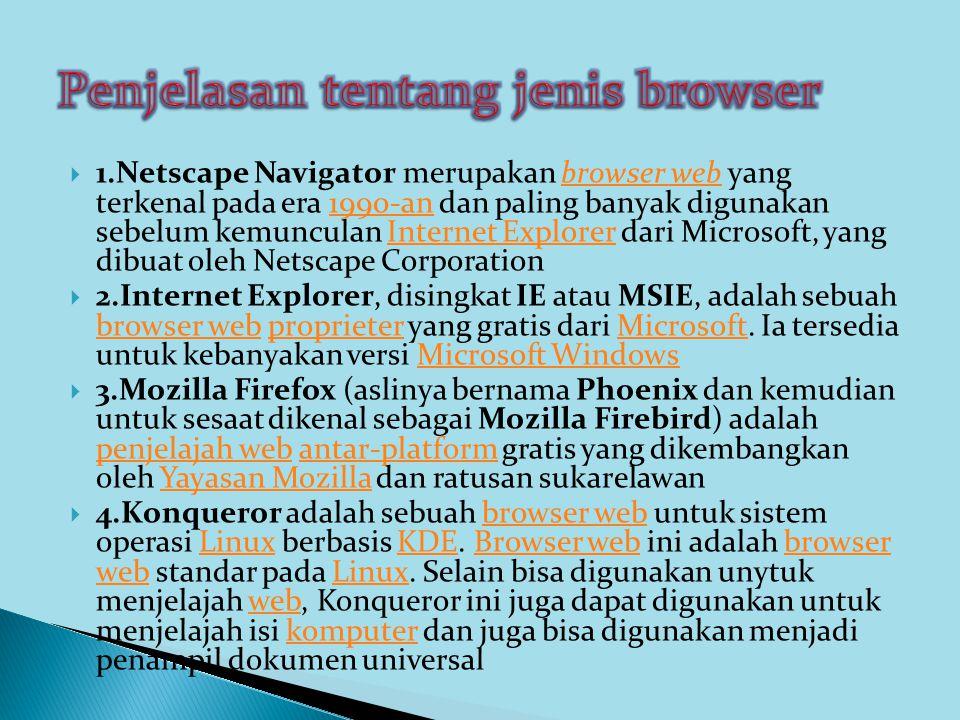 Penjelasan tentang jenis browser