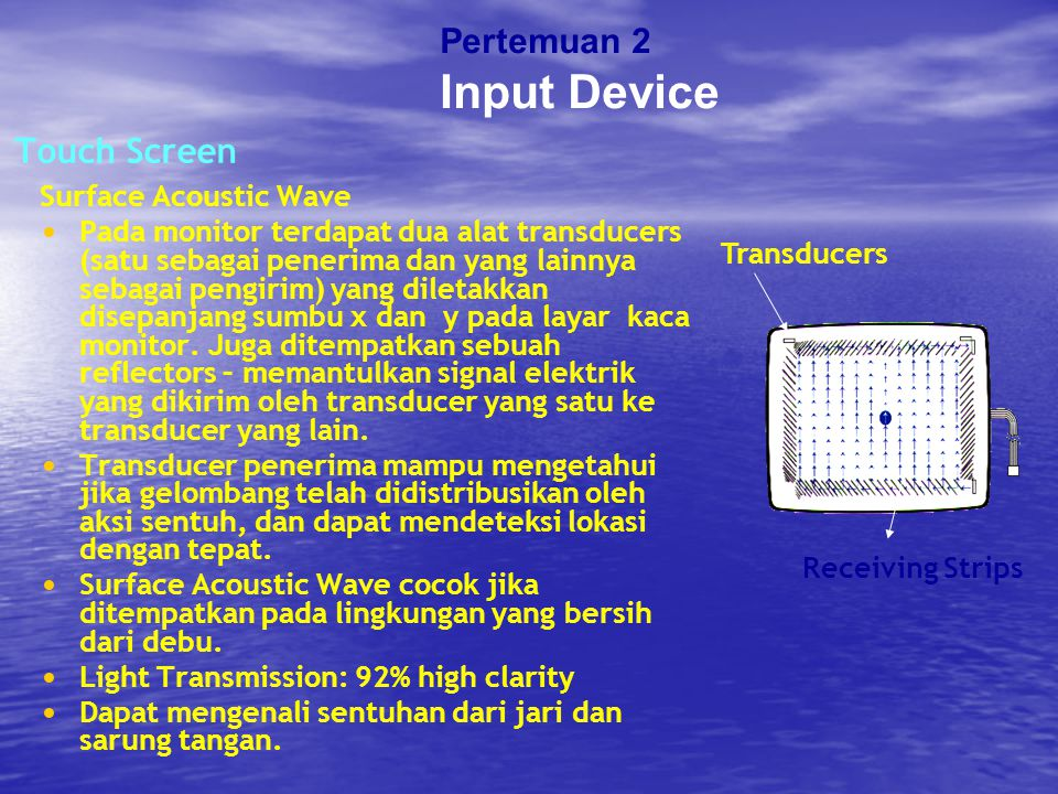 Input Device Pertemuan 2 Touch Screen Surface Acoustic Wave
