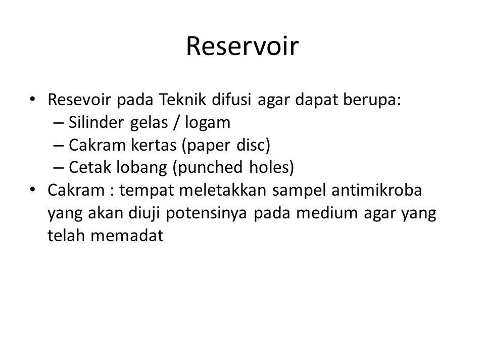 Reservoir Resevoir pada Teknik difusi agar dapat berupa: