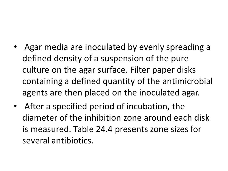 Agar media are inoculated by evenly spreading a defined density of a suspension of the pure culture on the agar surface. Filter paper disks containing a defined quantity of the antimicrobial agents are then placed on the inoculated agar.