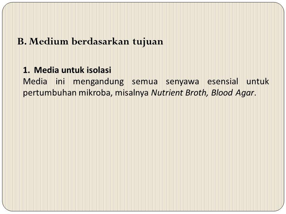 B. Medium berdasarkan tujuan