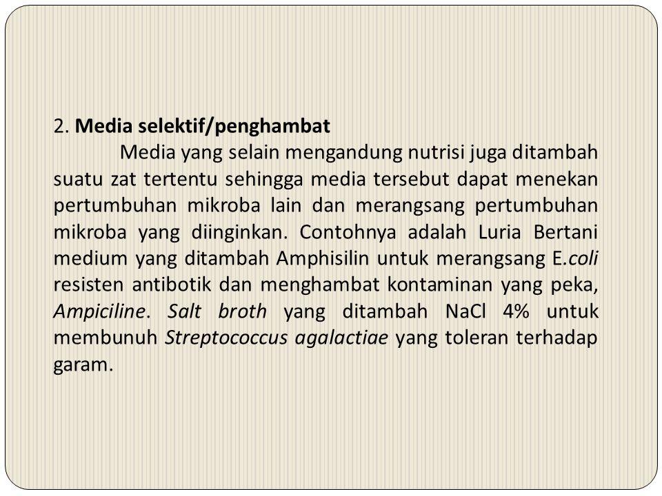 2. Media selektif/penghambat