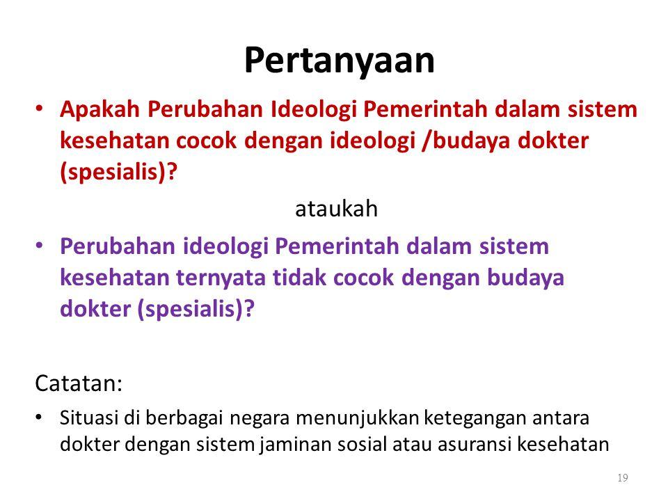 Pertanyaan Apakah Perubahan Ideologi Pemerintah dalam sistem kesehatan cocok dengan ideologi /budaya dokter (spesialis)
