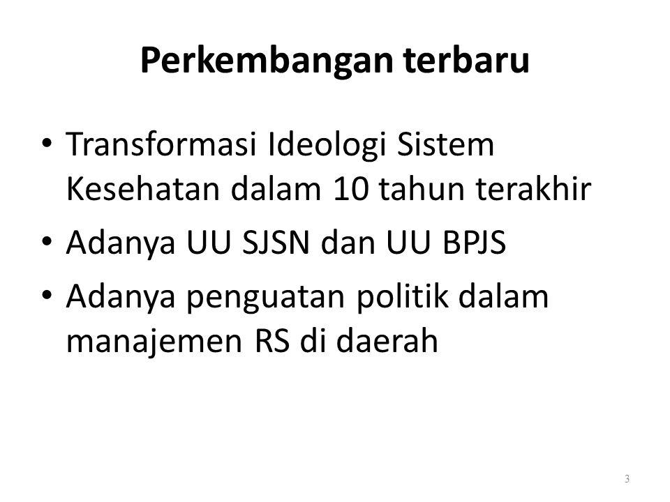 Perkembangan terbaru Transformasi Ideologi Sistem Kesehatan dalam 10 tahun terakhir. Adanya UU SJSN dan UU BPJS.