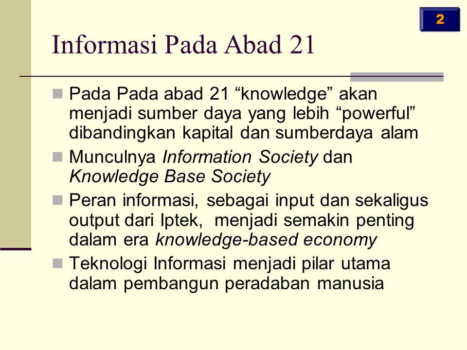 2 Informasi Pada Abad 21. Pada Pada abad 21 knowledge akan menjadi sumber daya yang lebih powerful dibandingkan kapital dan sumberdaya alam.
