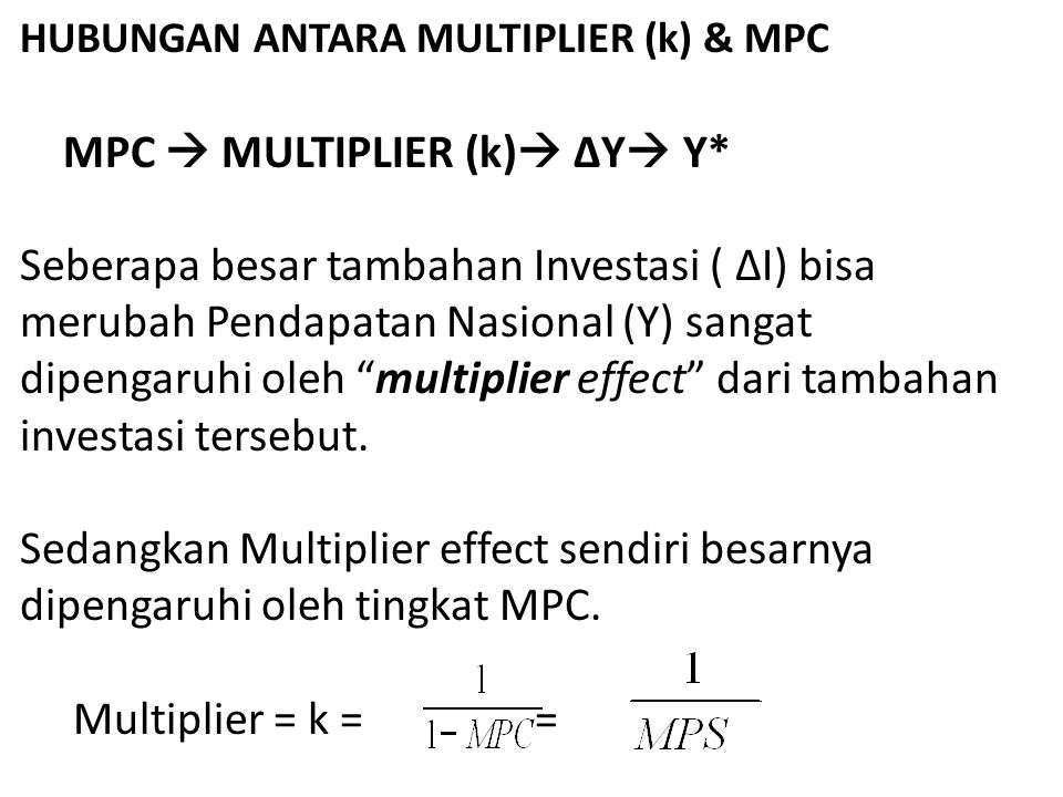 HUBUNGAN ANTARA MULTIPLIER (k) & MPC. MPC  MULTIPLIER (k) ΔY Y