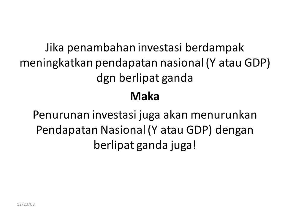 Jika penambahan investasi berdampak meningkatkan pendapatan nasional (Y atau GDP) dgn berlipat ganda