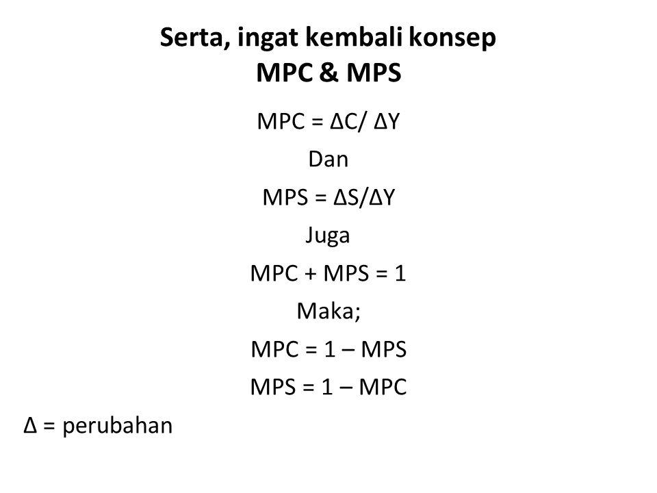 Serta, ingat kembali konsep MPC & MPS