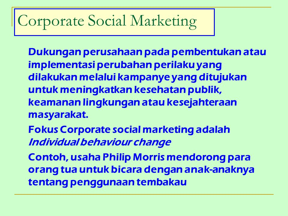 Corporate Social Marketing