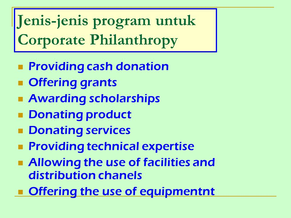 Jenis-jenis program untuk Corporate Philanthropy
