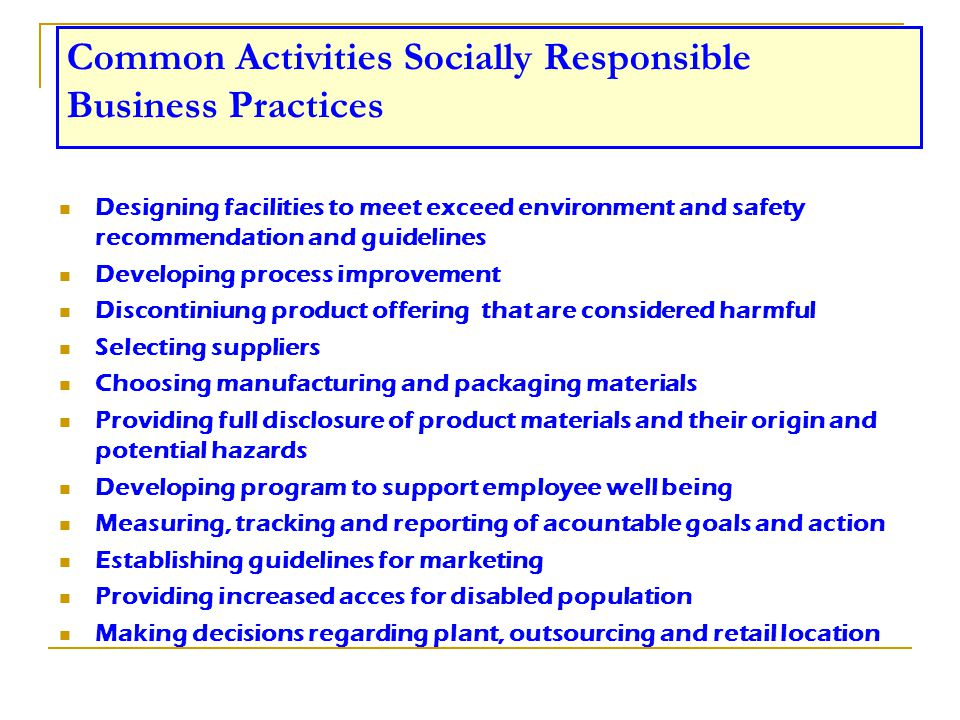 Common Activities Socially Responsible Business Practices